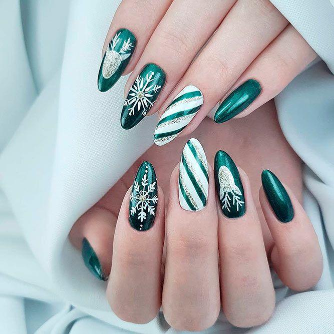 Green Nails Design For Winter #greennails #winternails