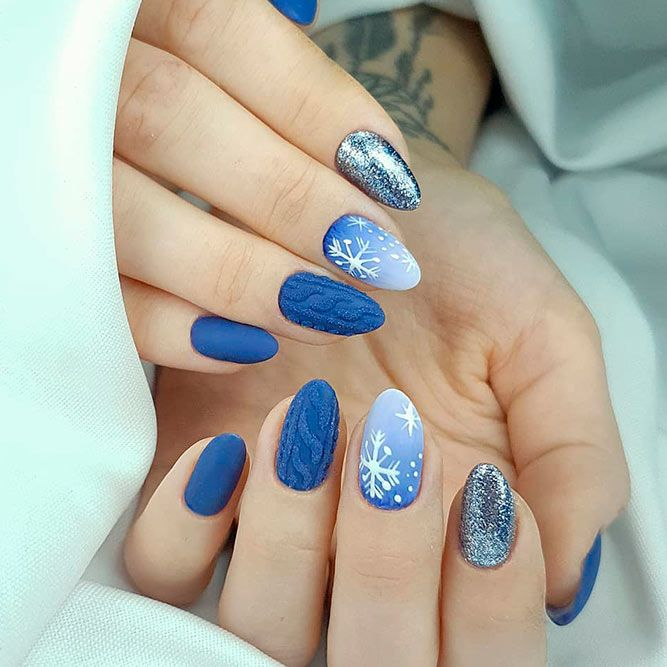 Blue Ombre Nails With Snowflakes Pattern #bluenails #ombrenails