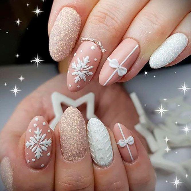 3-D Snowflakes Nail Design #nudenails #winterrnails