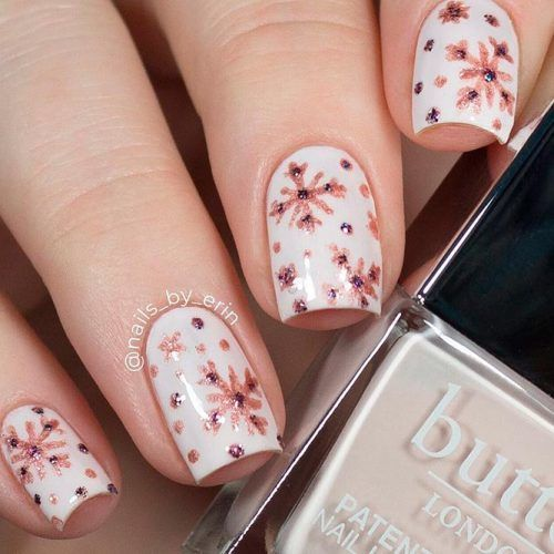 Rose Gold Snowflakes #rosegold #winternails