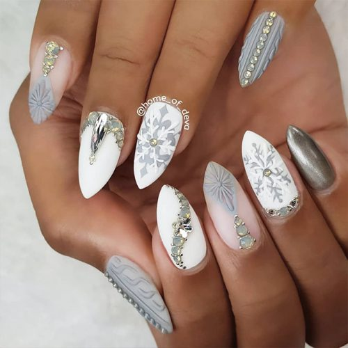Christmas Acrylic Nails Grey: Incredible Christmas Nails Ideas With Snowflakes On
