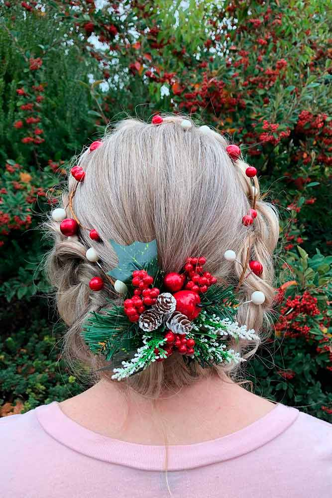Braided Crown With Holly Berries #braidedhair