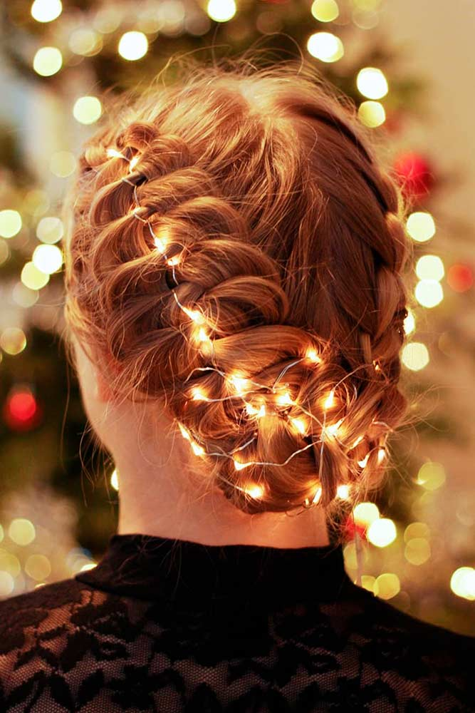 Creative Updo With Christmas Lights #braidedhair