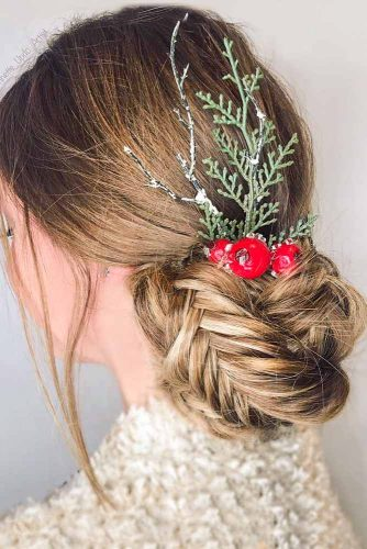Updo With Fishtail Braid For Christmas #fishtailbraid