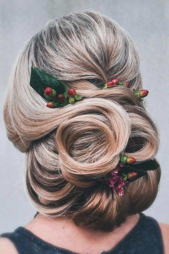 Pinned Uo Curls With Holly Berries #curlyhair #pinneduphair