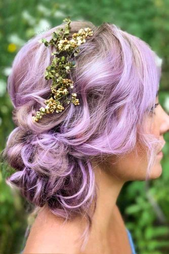 Purple Hair Updo With Floral Accessory #purplehair
