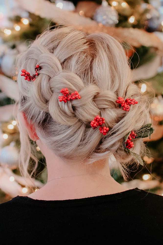 Side Braid Updo For Christmas #braidedhair