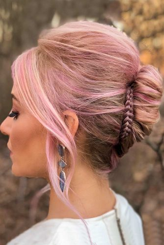 Rose Gold With Twisted Updo #rosehair #twistedupdo