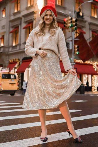 Beige Sweater With Glitter Skirt #glitterskirt
