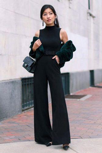 Black Bodysuit With Faux Fur Jacket #blackbodysuit