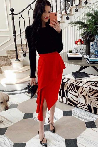 Red And Black Colors For Holiday Look #redskirt