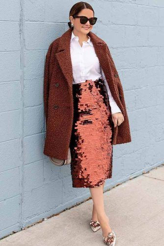 Holiday Outfit With Medium Sequin Skirt #sequinskirt