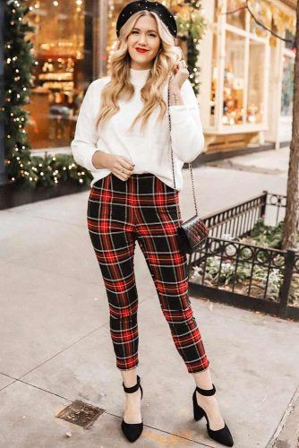 White Sweater With Plaid Pants Holiday Outfit #plaidpants
