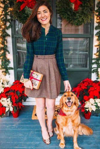 Holiday Outfit With Plaid Shirt #skirt #plaidshirt