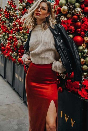 Holiday Outfit With Festive Red Skirt #red #sweater