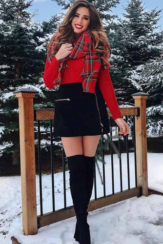 Black Mini Skirt With Red Sweater Outfit #redsweater #highboots
