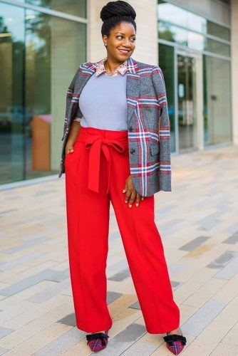 Red Trousers With Plaid Jacket Outfit #plaidjacket #redtrousers
