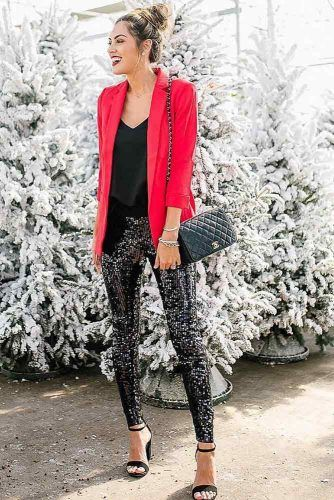 Holiday Outfit With Sequin Accent #redjacket
