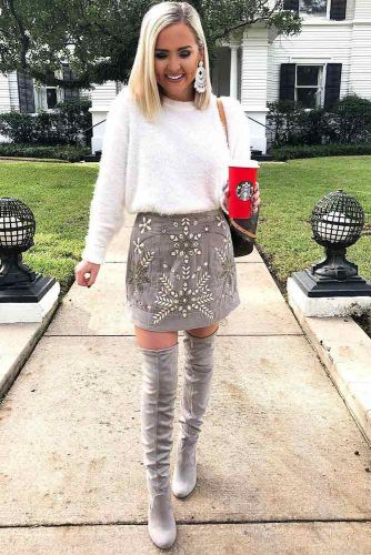 White Sweater With Gray Mini Skirt Outfit #skirt #sweater