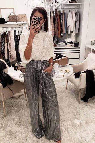 Silver Pants With White Sweater #sequinpants