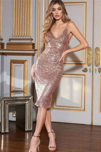 Midi Gold Glitter Dress #mididress #golddress