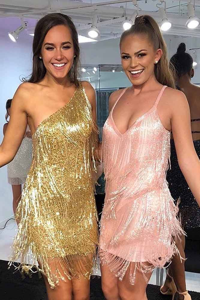 Fringe Shimmer Dresses #golddress #pinkdress