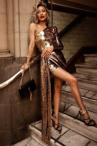Gold Sequin Dress Design #asymmetricsleeves