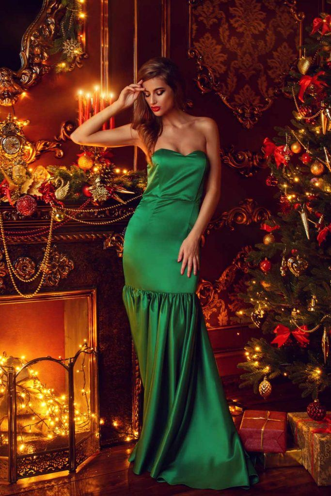 Long Green Christmas Dress