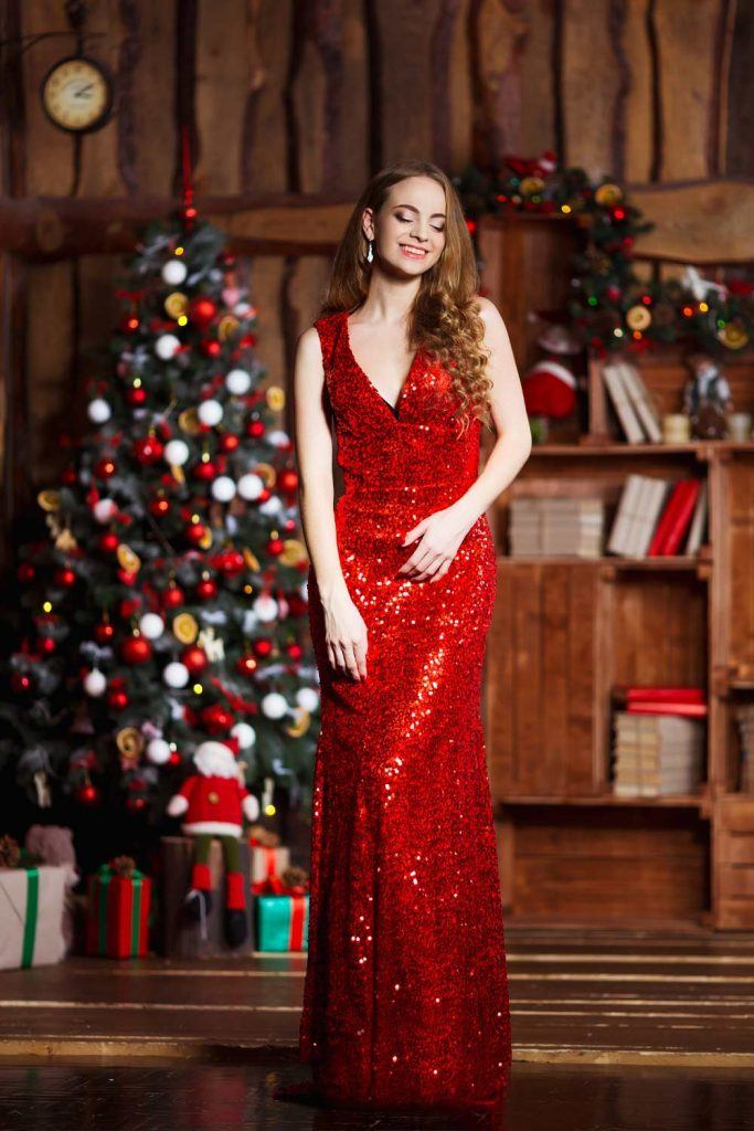 Red Sparkly Christmas Dress