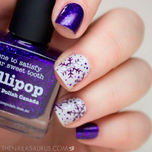 Purple Snowflakes #winternailart #snowflakesnails