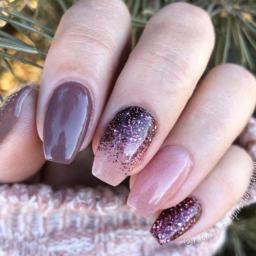 Simple Cappuccino Nail Design With GLitter #cappuccinonails #glitternails