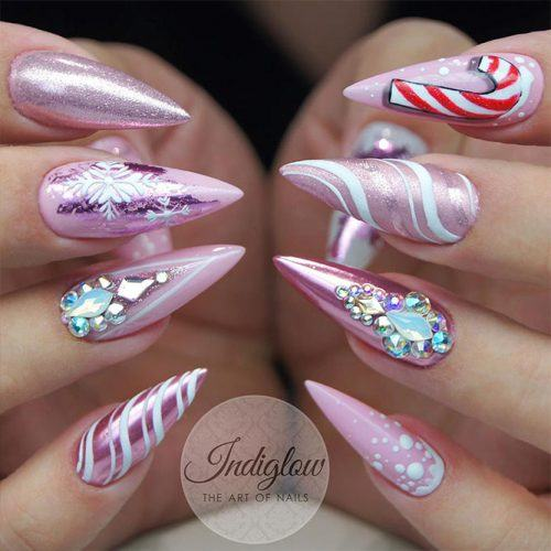 Pink Candy Nail Art For Winter #pinknails #stilettonails #candynails