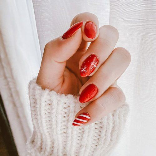 Red Winter Nail Design #rednails #winternails