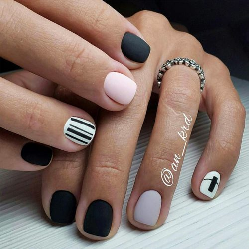 Classy Matte Nails in Dark Shades Picture 6