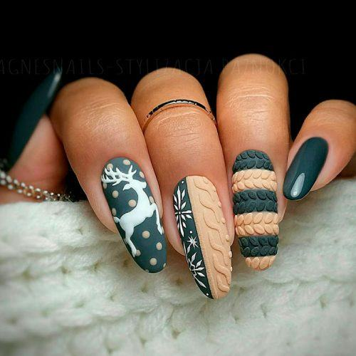 Textured Winter Nail Design #mattenails #knittednails #texturednails