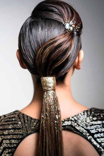 Sparkly Sleek Ponytail  #sleekhair #sparklyhair