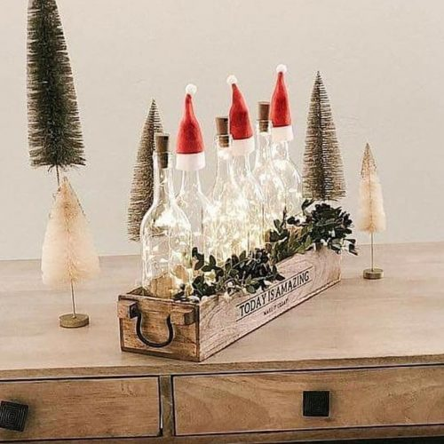 Centerpiece Idea With Lights Bottles #bottles #lights