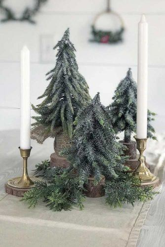 Christmas Trees With Candles Centerpiece Gift Idea #christmastrees