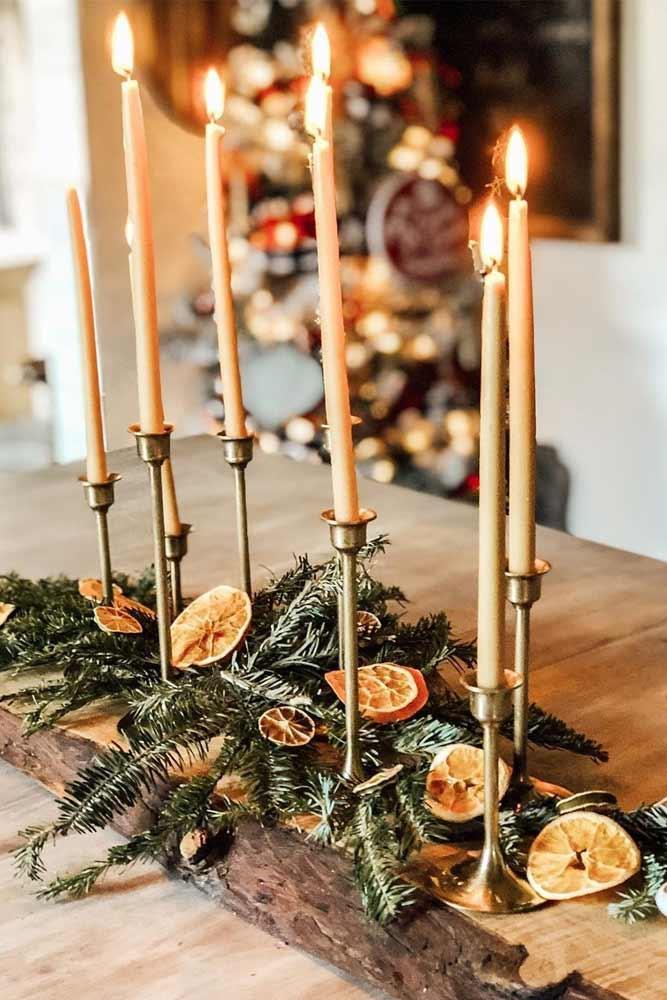 Candles With Citrus Centerpiece Idea #candles #citrus