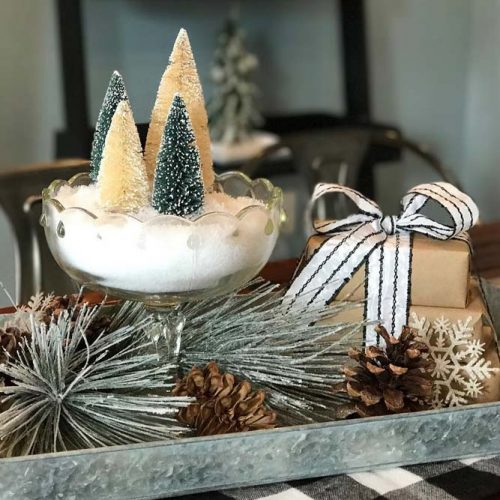Centerpiece Idea With Christmas Trees #gifts #cones