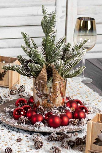 Christmas Tree Centerpiece With Ornaments Centerpiece Idea #ornaments