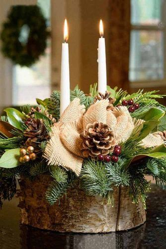 Rustic Wooden Centerpiece With Candles #woodencenterpiece