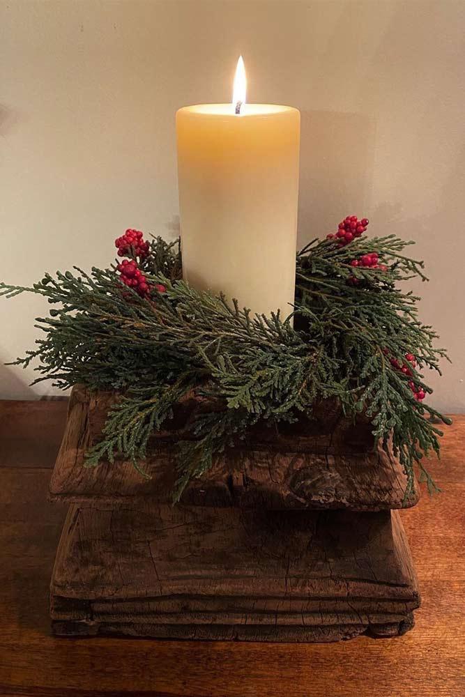 Rustic Candle Centerpiece Idea #candlecenterpiece #rusticcenterpiece