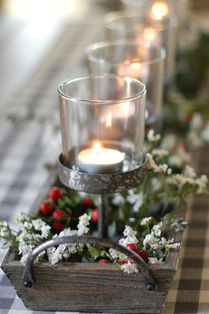 Rustic Candle Holders Centerpiece Idea #candles #berries