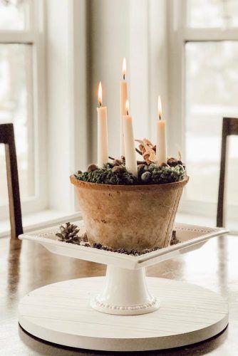 Vintage Candle Centerpiece Idea #candles #rusticcenterpiece