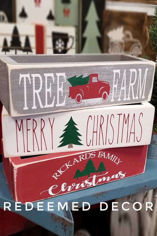 Wooden Box Decorations #christmasboxes