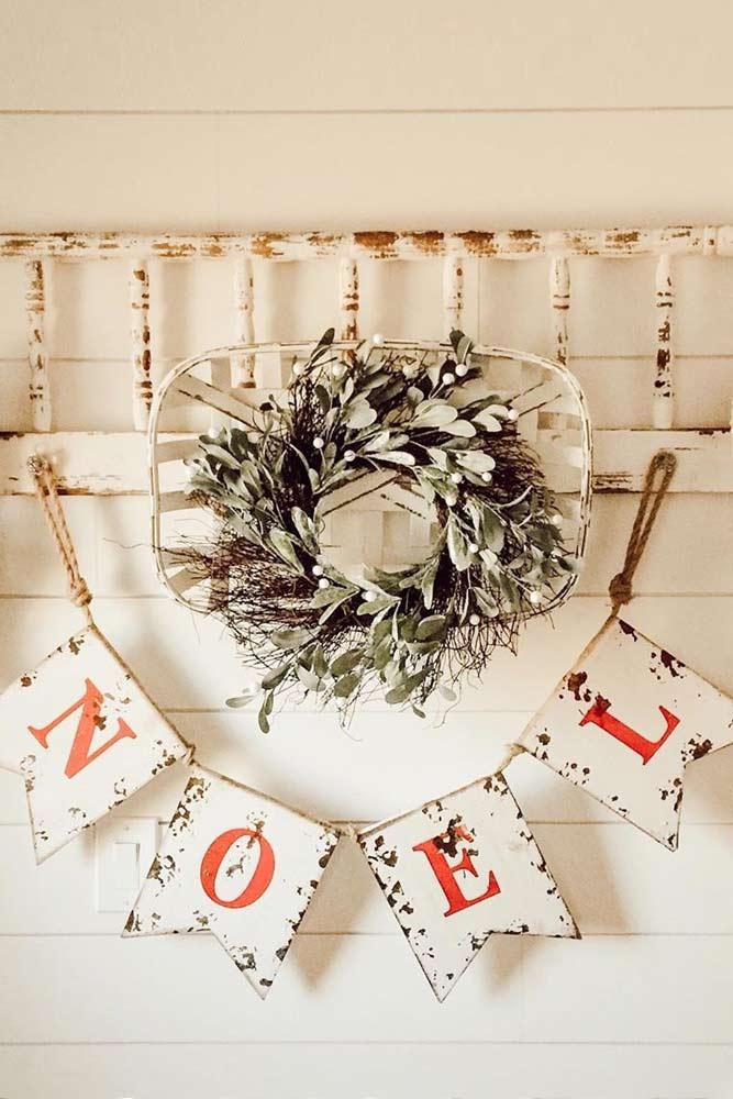 Noel Garland Decoarations #ladder #wreath