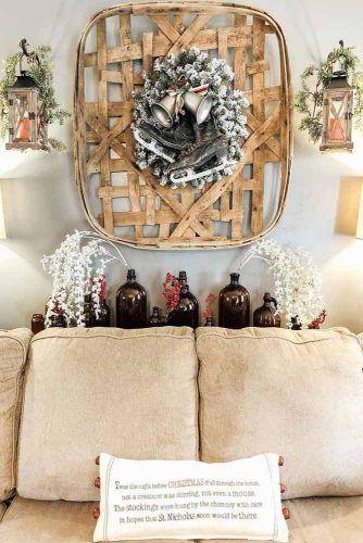 Ski Wreath Design #wreath #lanterns