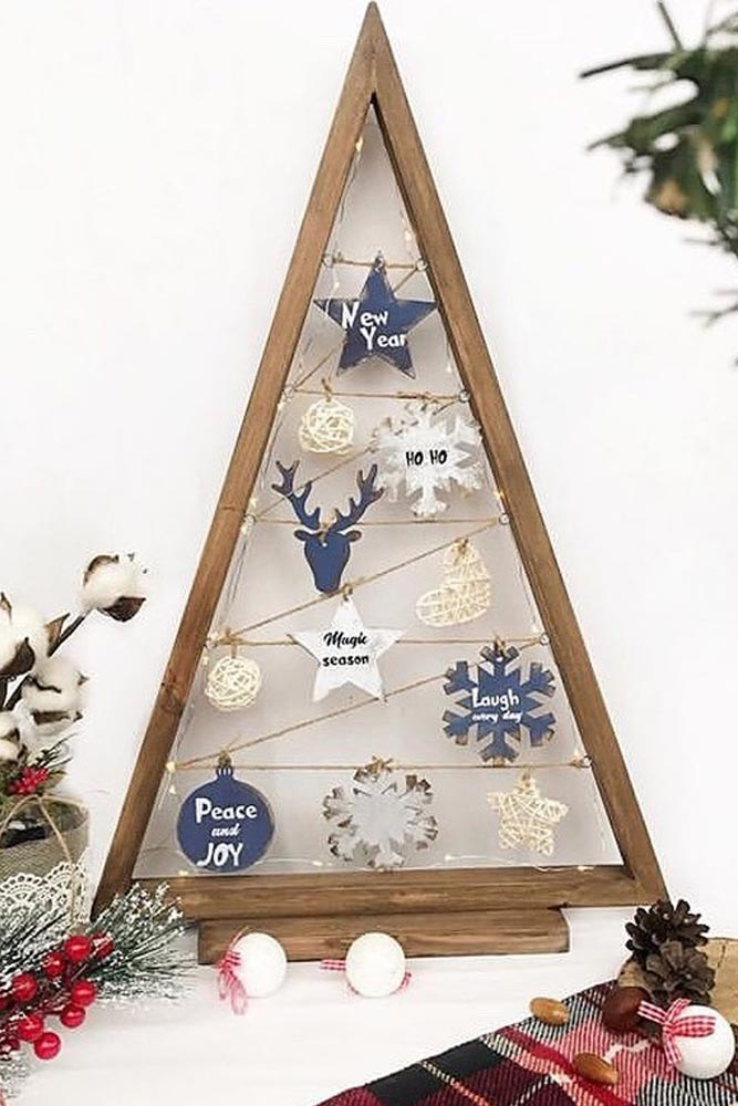Christmas Tree Frame With Ornaments #christmastree #woodenornaments
