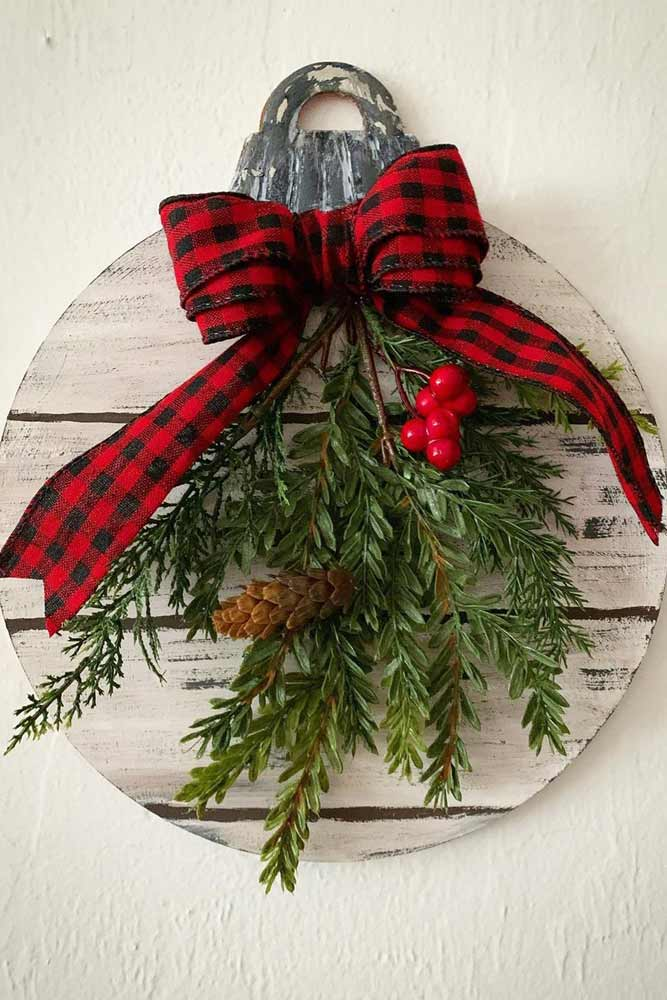 Wooden Ornament With Christmas Greenery #berries